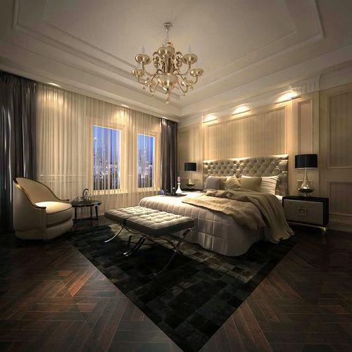 Luxury Stylish Interior Master Bedroom   50 3D Model