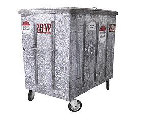 Metal Trash Container 3D
