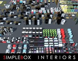 3D model SimpleBox Interiors for indie game developers