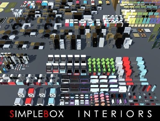 simplebox interiors for indie game developers 3d model low-poly max obj mtl fbx 1