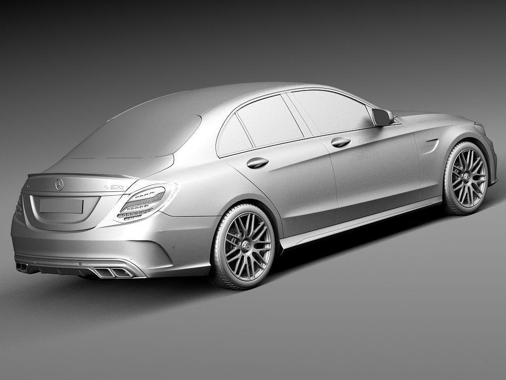 Mercedes benz c63 amg sedan 2015 3d model max obj 3ds fbx for 2015 mercedes benz models