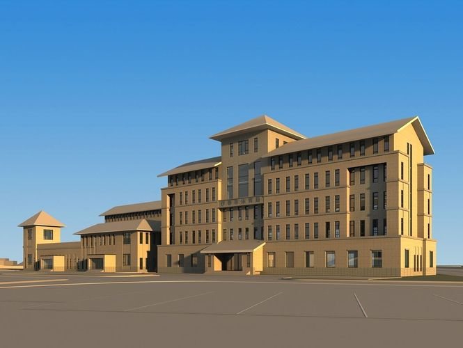 3d authentic office building design cgtrader for Office building exterior design