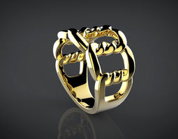 3D printable model Golden Twist ring