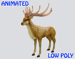 3D asset Low poly Deer Animated - Game Ready