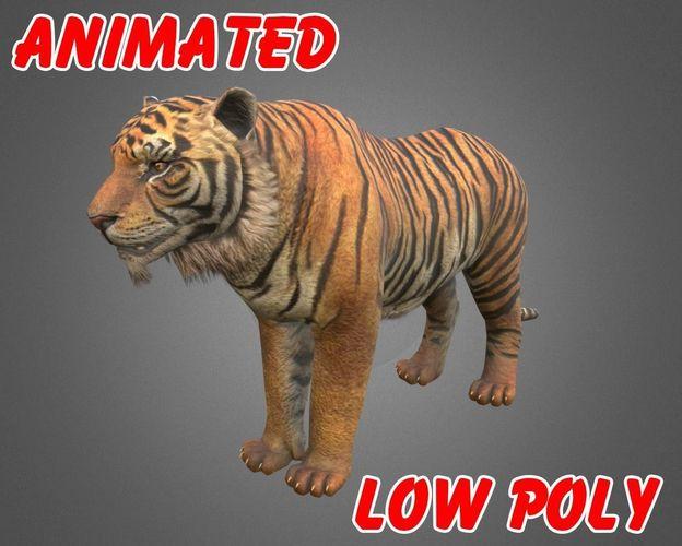 tiger 3d model - animated 3d model low-poly max obj mtl fbx 1