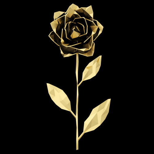 abstract golden rose  3d model max obj mtl fbx mat 1