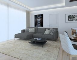 A modern style cozy living room 3D model