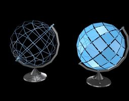 Low poly globes 3D asset