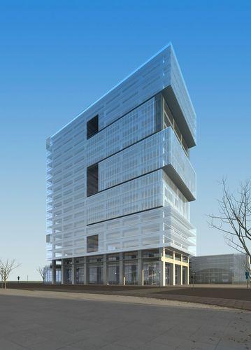 3d model modern commercial building design cgtrader for Modern office building design concepts exterior