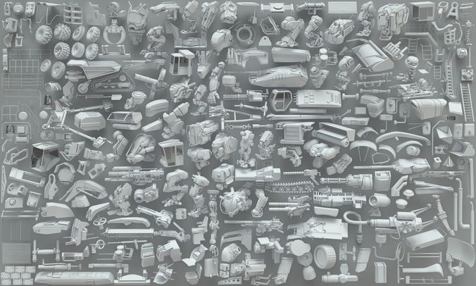 kitabeshes-parts of robots and heavy machines-part 3-255 peaces 3d model max obj fbx stl 1