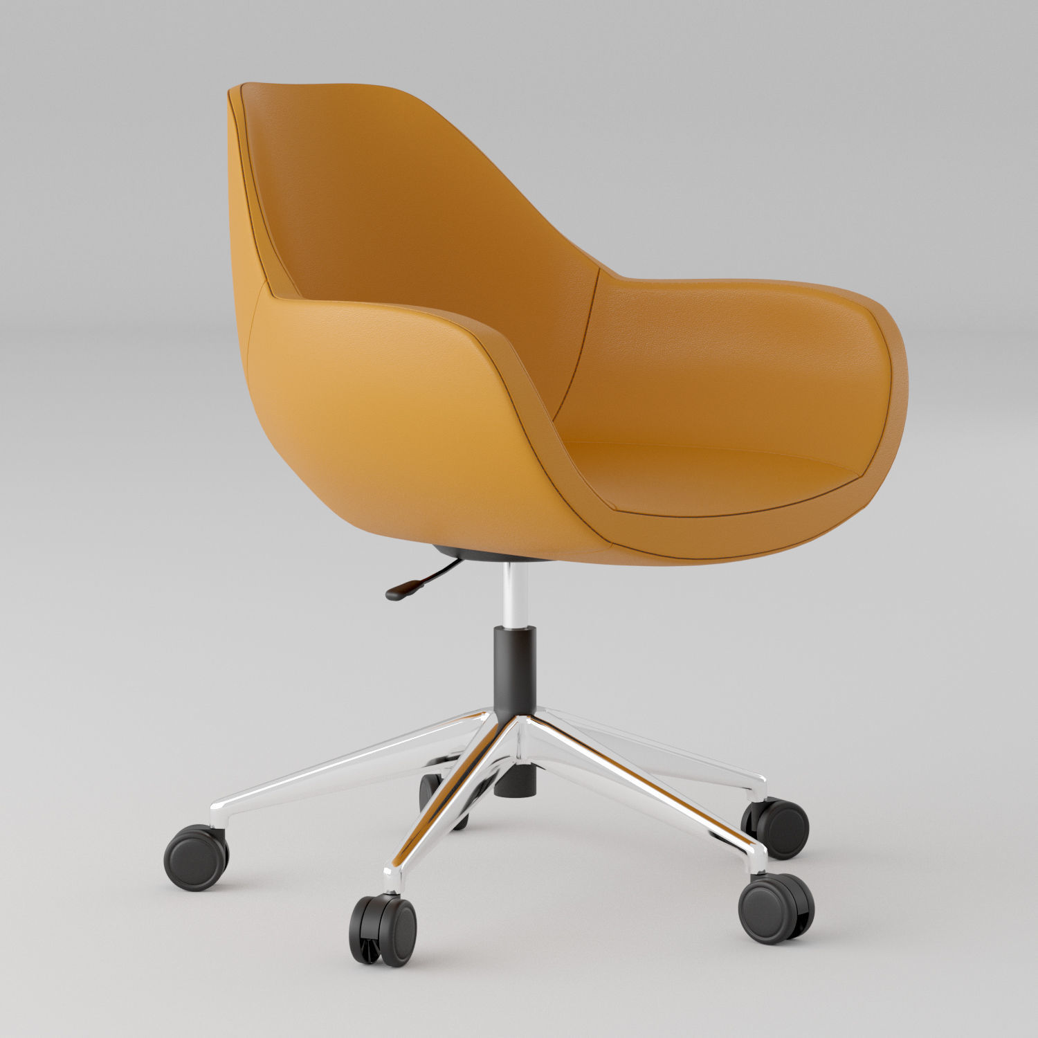 Picture of: 3d Model Orange Leather Office Chair Cgtrader