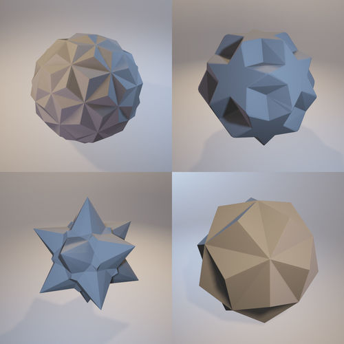 a set of fractal three-dimensional monochrome symbolic objects 3d model stl 1
