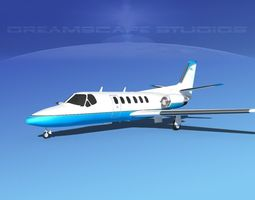 3D rigged Cessna C550 Citation II V02