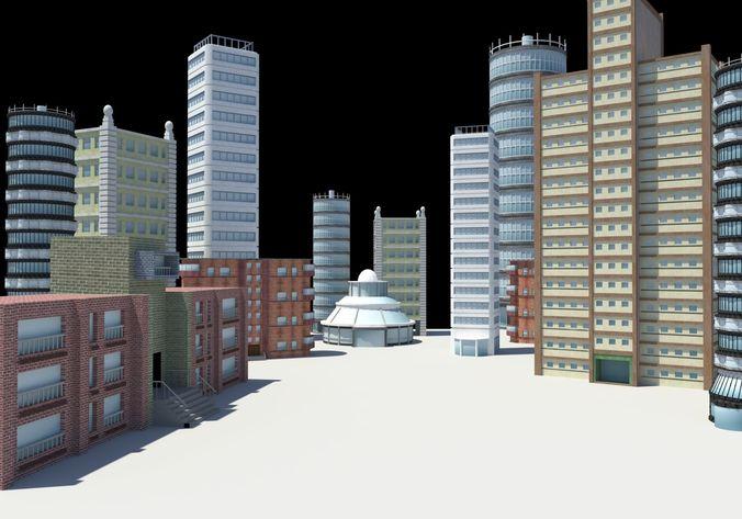 city buildings modern architecture 3d model obj mtl 1