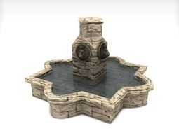 Stone fountain with lion heads 3D model
