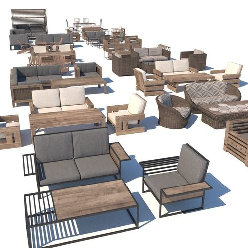 outdoor furniture collection model 3d model low-poly max obj fbx 1