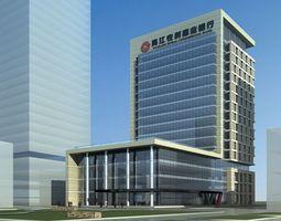 Modern commercial building design 3d model max for Modern bank building design