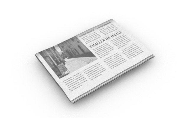 folded editable newspaper | 3D model