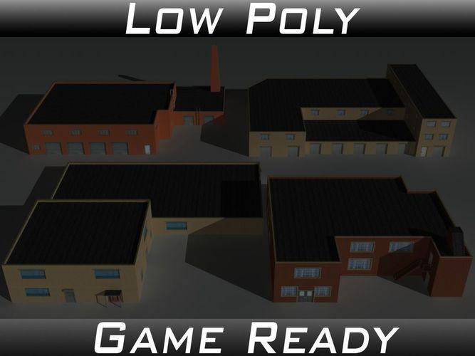 factory building set 9 3d model low-poly obj 3ds fbx mtl 1