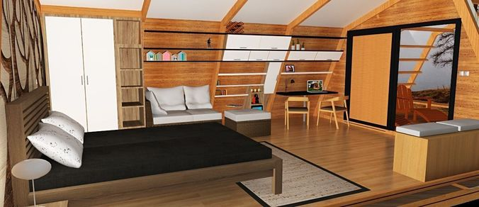 glamping pod with interior 3d model skp 1