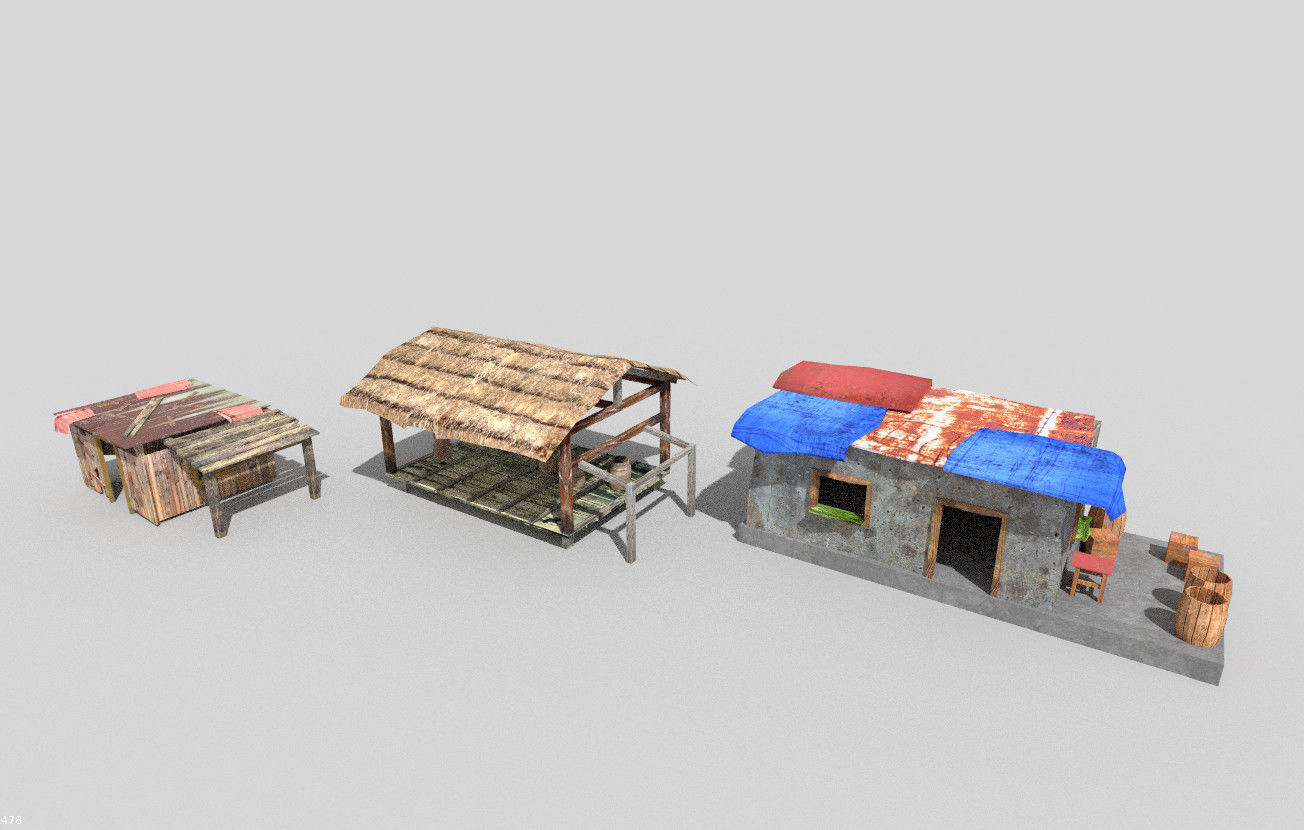 3 low poly beach huts pack