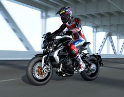 Agusta brutale 800 dragster with Rider 3D model