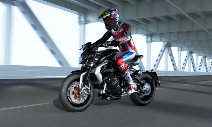 agusta brutale 800 dragster with rider 3d model low-poly rigged animated max obj mtl 3ds fbx mat 1