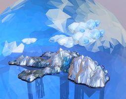 3D model Low Polygon Art Snow Ise Island Mountain
