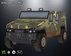 3D model game-ready Army Jeep