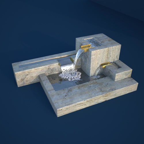 Modern Cubic Fountain 3d Model Pbr Cgtrader