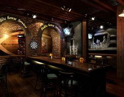 3D model Pub with Oval Door Frame