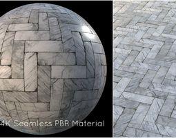 White marble tiles PBR material 3D model stone