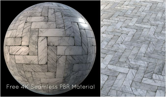 white marble tiles pbr material  3d model tga 1