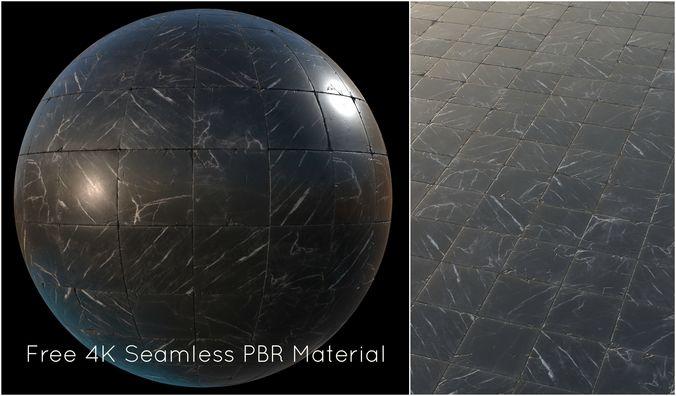 black marble tiles pbr material  3d model tga 1