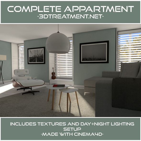 3D Complete Livingroom Appartment | CGTrader