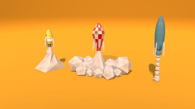 low poly rockets 3d model obj mtl 3ds fbx c4d dxf 1