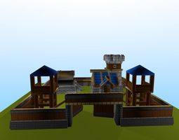 3D asset Low poly simple Medieval Fort