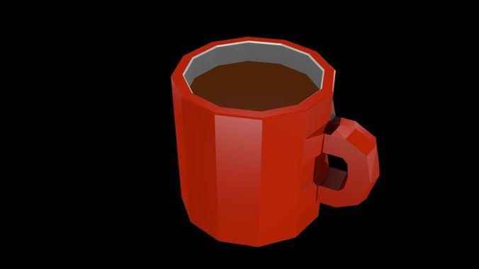Low poly coffee mug
