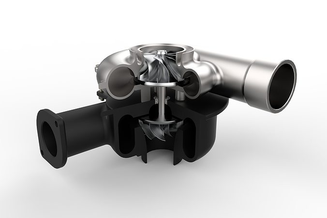 turbocharger 3d model obj mtl fbx stl sldprt sldasm slddrw ige igs iges stp 1