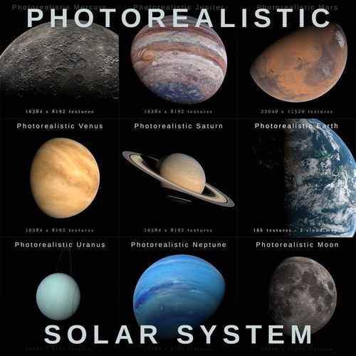photorealistic solar system  3d model max obj fbx blend 1