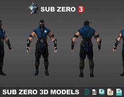Sub Zero Mortal Kombat 3D Models low poly