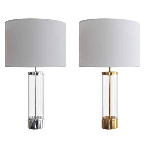 West Elm Acrylic Column Nickel And Brass Finish Table Lamp 3D Model