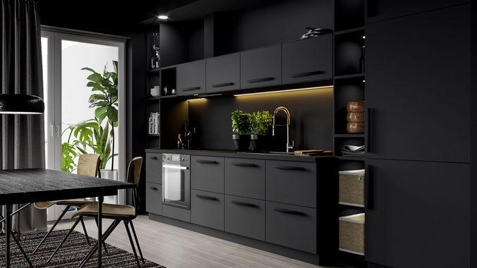 3d Model Ikea Kitchen Scene Cgtrader