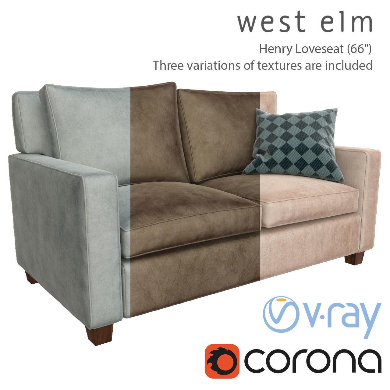 Sofa Henry Loveseat West Elm 3d Pbr Cgtrader