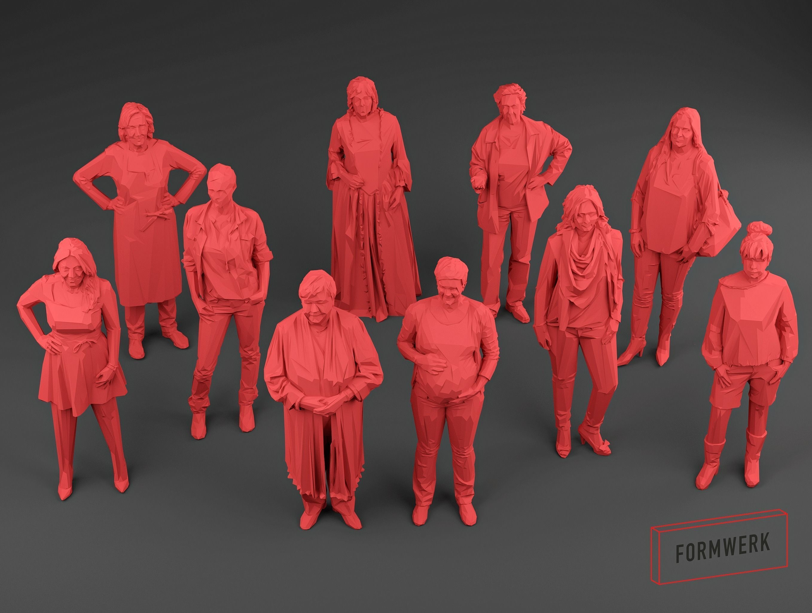 Scanned women Low Poly set 01 - 10 models