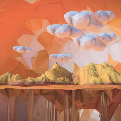 low polygon art sand waterfall island mountain 3d model max obj mtl 3ds fbx ma mb tga 1