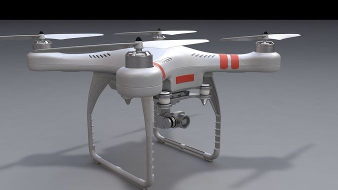 phantom x drone  3d model obj mtl 3ds fbx c4d 1