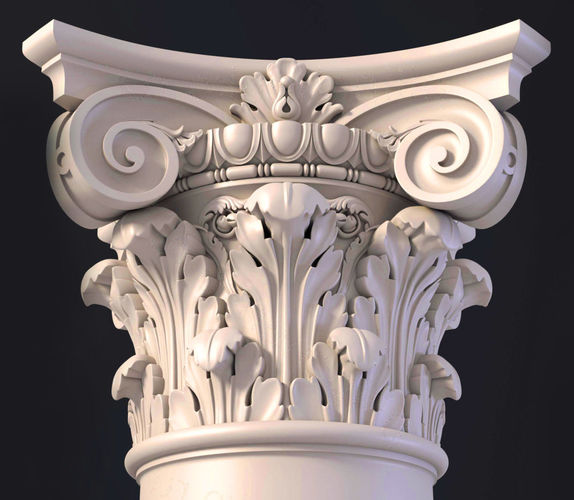 3d ionic  column capital 3d model obj mtl dxf stl ply 1