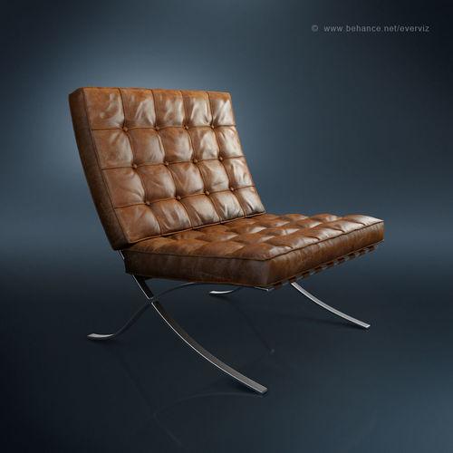 Superbe Barcelona Chair 3D Model