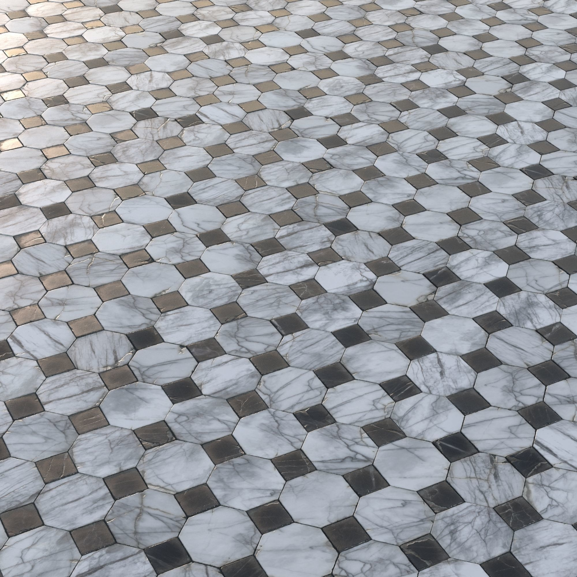 Aged Marble Tiles Pbr Material Model